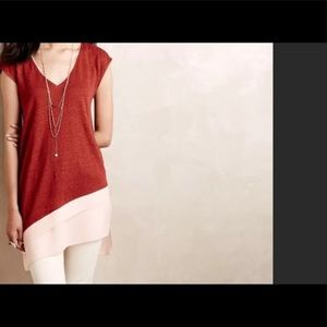 New Anthropology Deletta linen tunic in brick red.